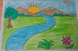 صورة رسم منظر طبيعي للاطفال , رسم منظر طبيعي روعه