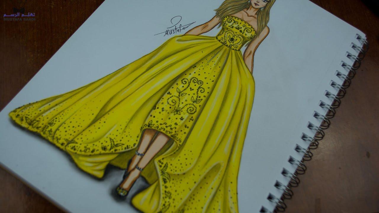 فستان كرتون رسم فستان